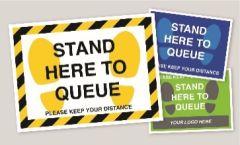 Queue Here Floor Stickers